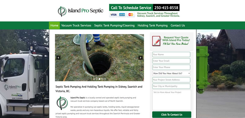 Website Case Study For A Septic Pumping and Dumpster Rental Company.