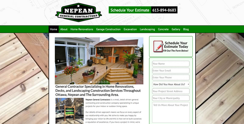 Website Case Study For A General Contractor in Ottawa, Ontario, Canada.