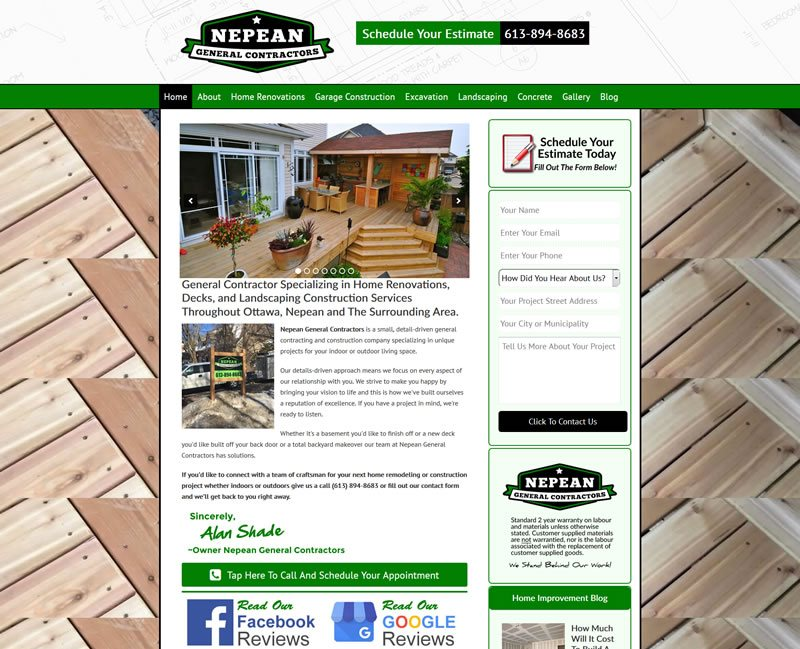 Nepean General Contractors Website Case Study - Website