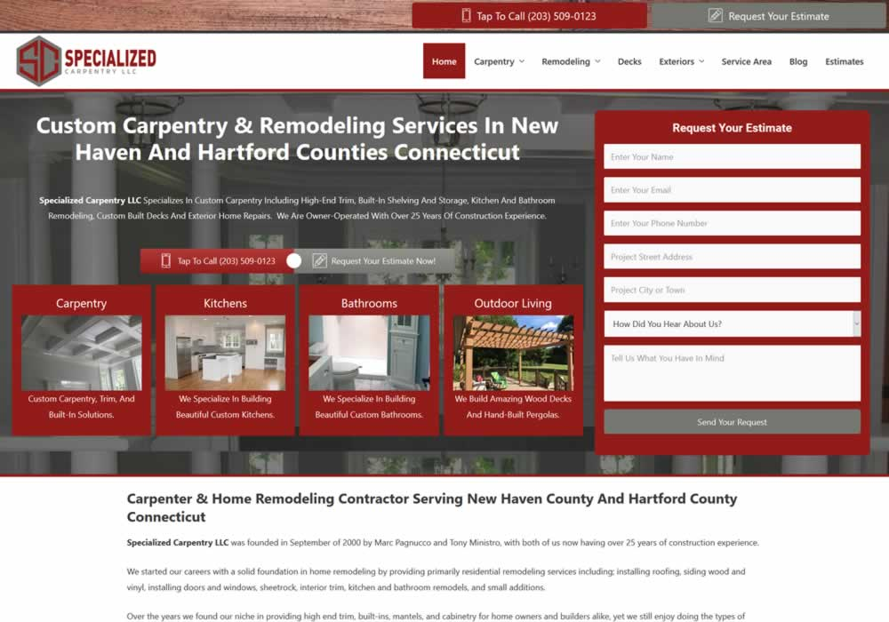 Custom Carpentry Website Design